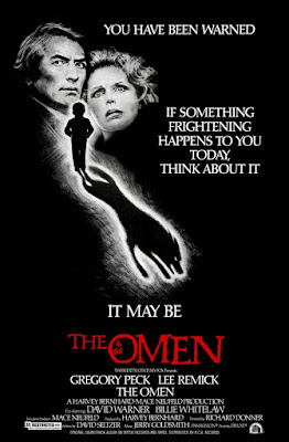 Original theatrical one-sheet for THE OMEN (1976) starring Gregory Peck.