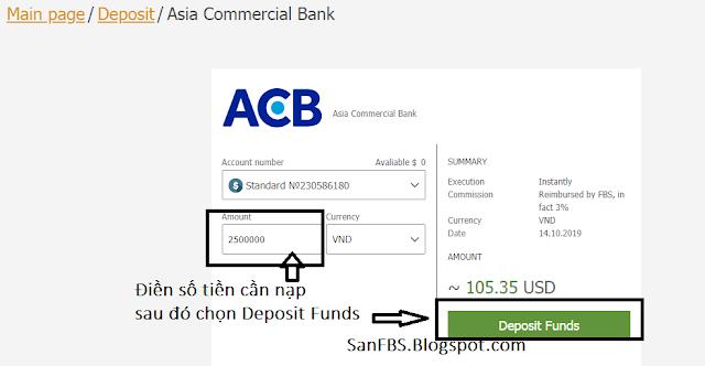 Nạp tiền vào FBS từ ACB
