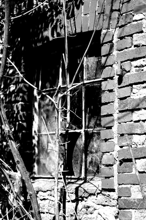 Blog + Fotografie by it's me! | fim.works | SchwarzWeissBlick No 17 | verlassenes Gehöft | Lost Place | zerschlagene Fensterscheiben