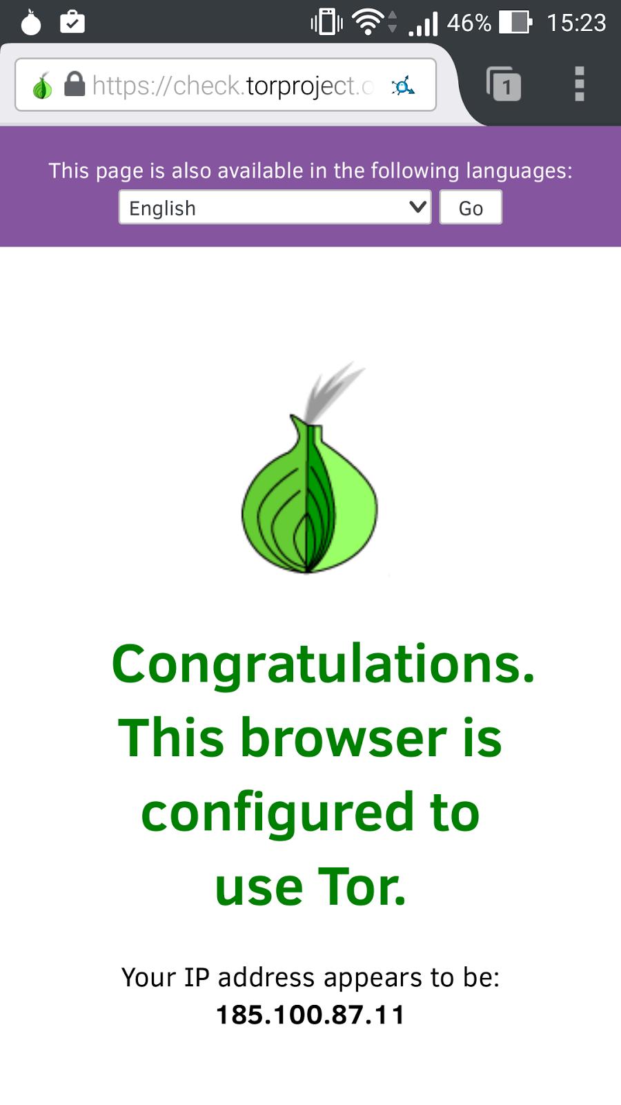 Navegador configurado para usar Tor