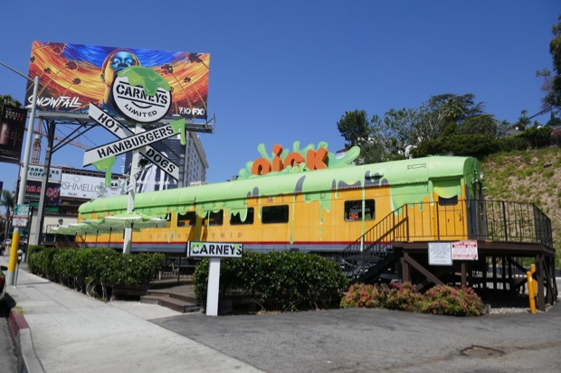 Nickelodeon slimed Carneys train Sunset Strip