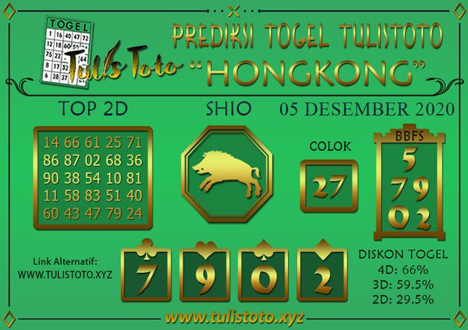 Prediksi Togel HONGKONG TULISTOTO 05 DESEMBER 2020