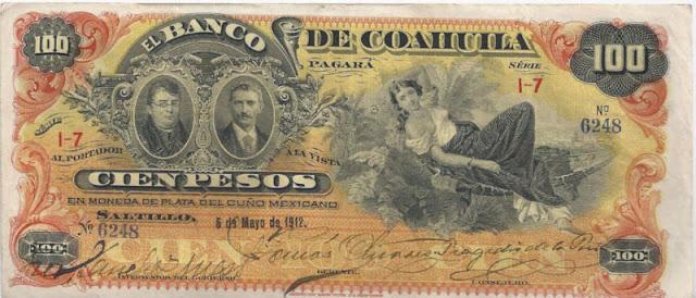 100 Pesos Mexican Revolution Banco de Coahuila
