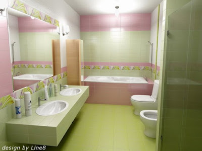 ห้องน้ำสีเขียว