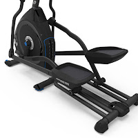 "20"" stride length, large articulating footplates, dual rail system on Nautilus E616 Elliptical Trainer MY18"