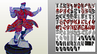 m.bison street figft silhouette papercraft lowpoly rondipaper modelo em 3d blender
