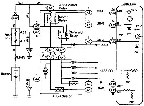 Wiring Diagrams  Toyota Typical ABS Control Relay