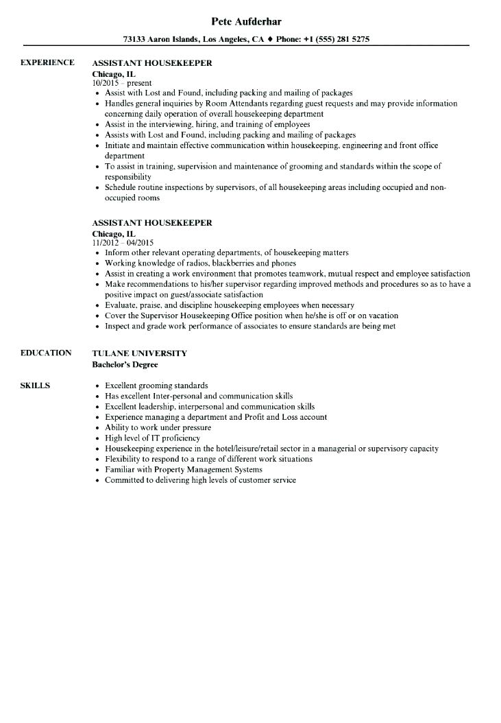 Resume Examples Housekeeping Hospital Jobs Resume Templates