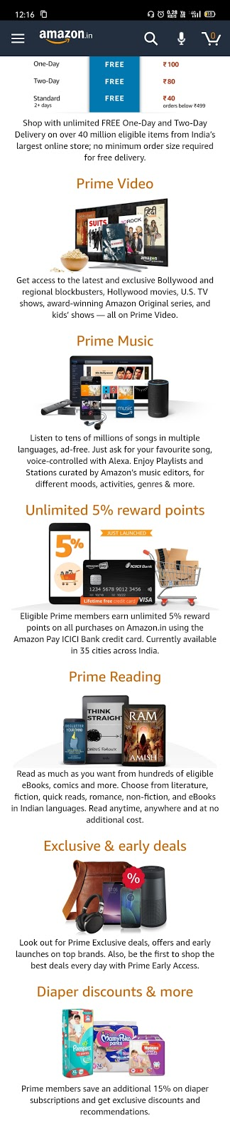 Amazon youth offer:- Get amazon prime membership for 3 months in just Rs 164 and for 1 year Rs 499.