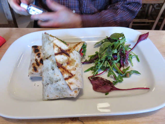 Chicken wrap and salad at Camden Rotisserie