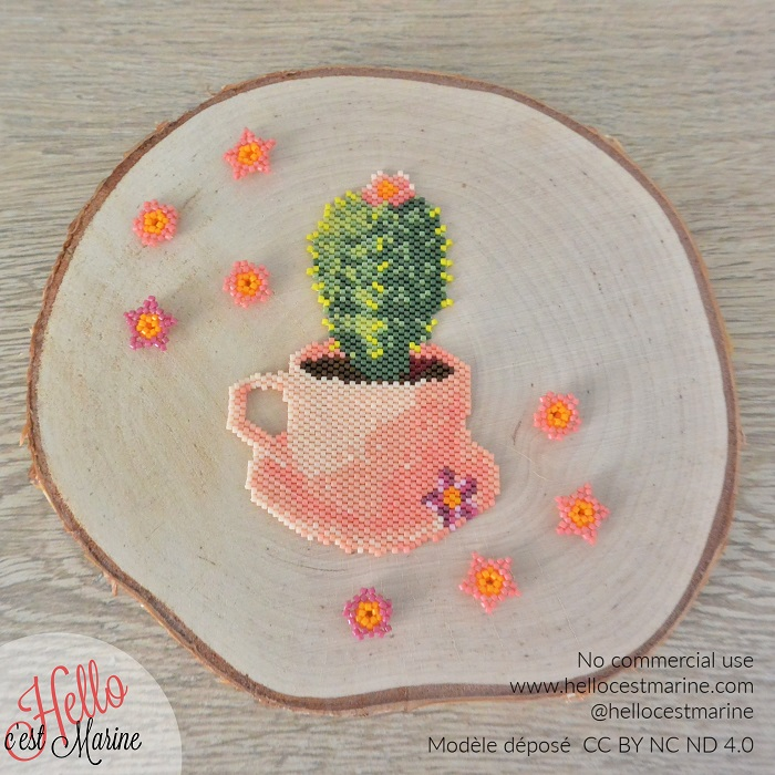 Cactus en perles Miyuki delica créé et tissé par Hello c'est Marine