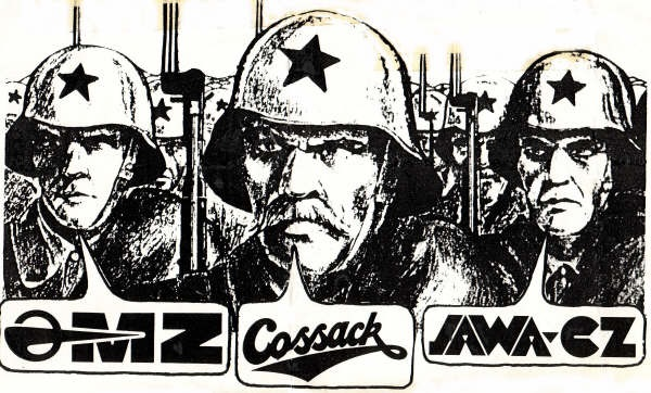Before the dissolution of the Soviet Union, Cossack was a catch-all brand for the various Soviet marques sold in the west. Presumably this illustration was intended to make you want to buy one.