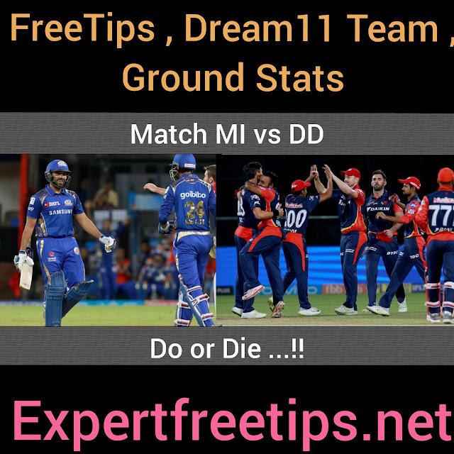 DD vs MI Dream11 Predictions & Betting Tips, IPL 2018 Today Match Predictions
