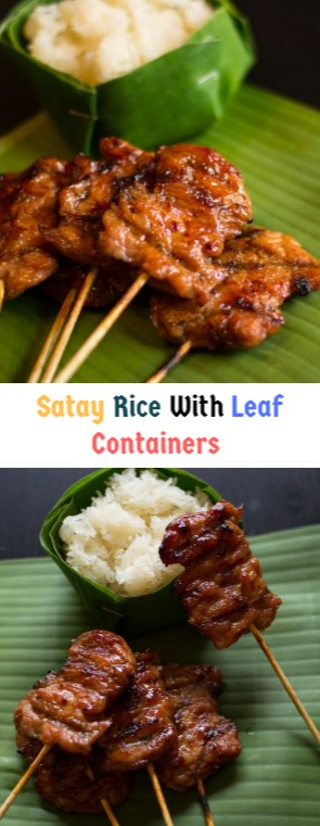 Satay Rice With Leaf Containers