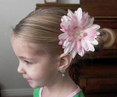 Model rambut anak perempuan dengan basic bun opt
