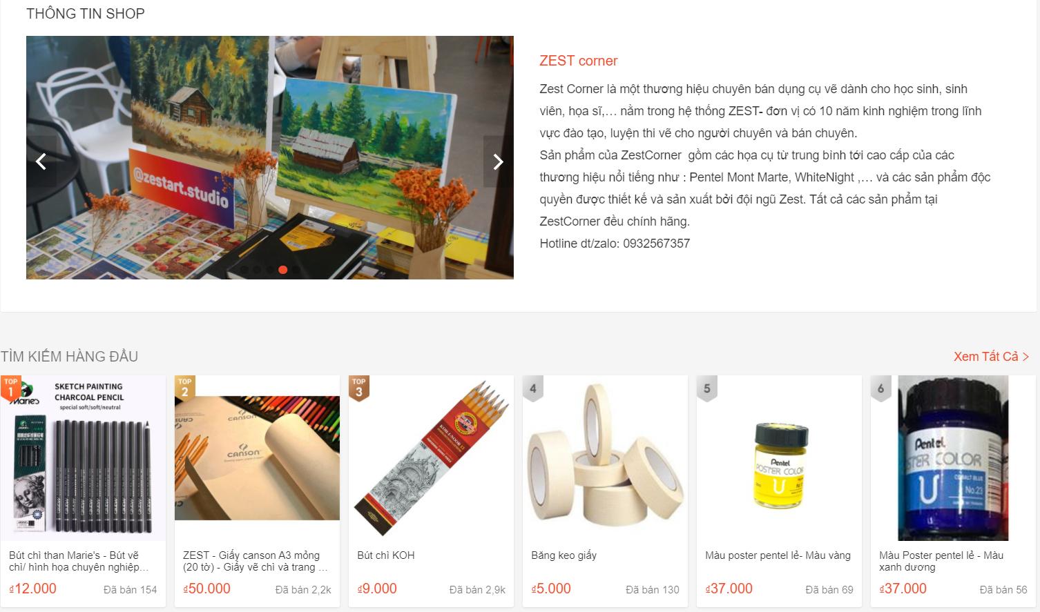 Hình ảnh shop họa cụ ZEST corner trên Shopee, với những mặt hàng xịn cho dân vẽ