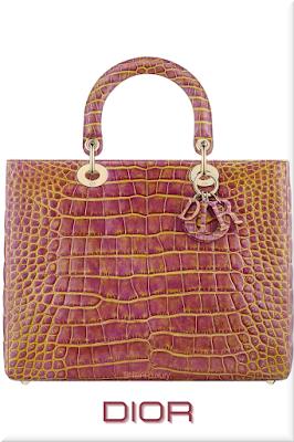 ♦Dior Lady Dior pink and yellow patinated top handle alligator skin bag #dior #bags #ladydior #brilliantluxury