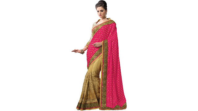 M.S.Retail Embroidered Bollywood Brasso, Net Saree  (Pink)