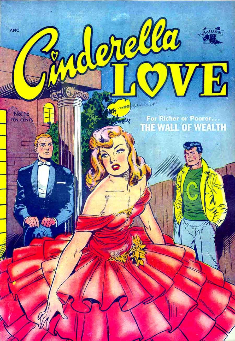Cinderella Love v2 #15 st.john romance comic book cover art by Matt Baker