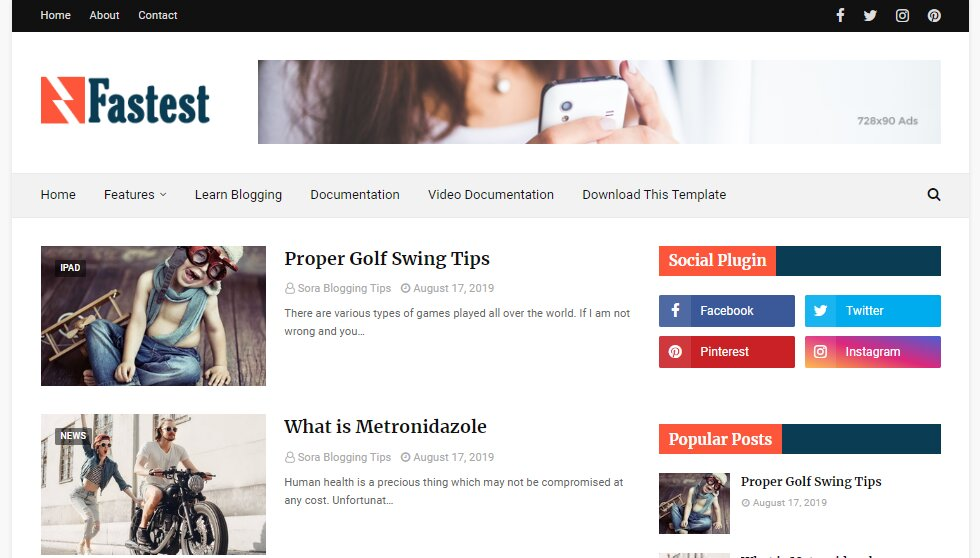 Fastest - Fast Loading Blogger Template