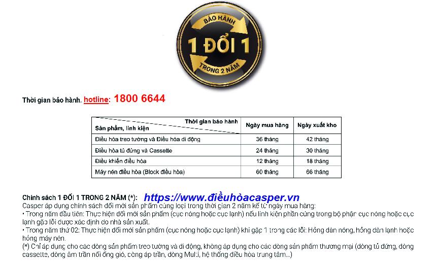 BẢO HÀNH ĐIỀU HÒA CASPER SC-24TL32