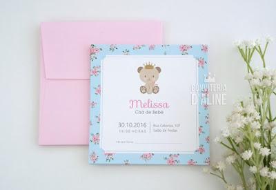 convite ursinha princesa floral