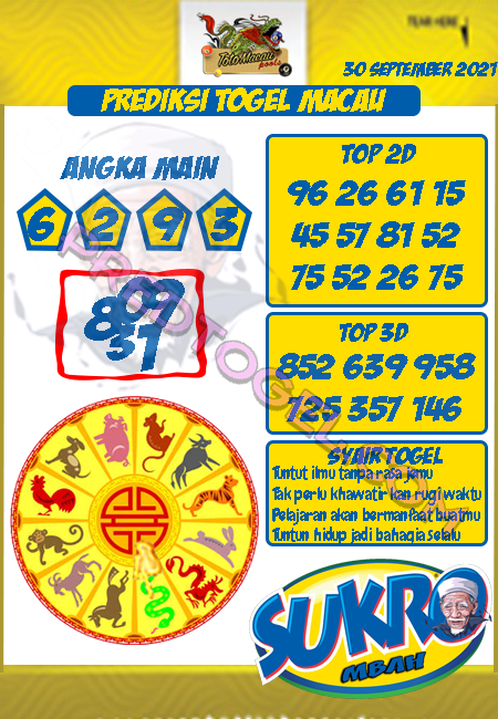 Pred Mbah Sukro Macau Kamis 30 September 2021