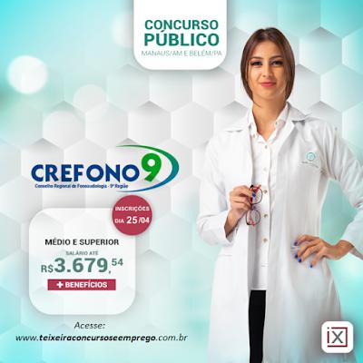 edital concurso CREFONO 9 - abre 110 vagas