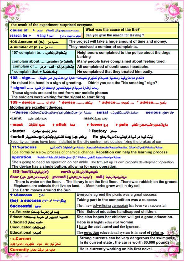 كل الملاحظات اللغوية في اللغة الانجليزية للصف الثالث الثانوى مستر. عصام وهبة 12