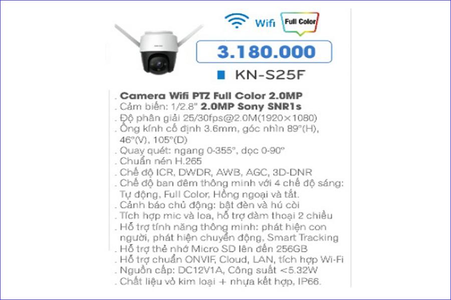 Giá bán camera IP Wifi KBONE KN-S25F