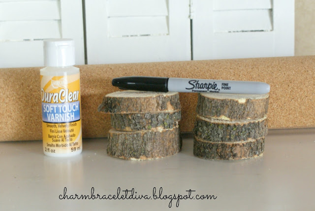 Materials List For DIY Rustic Farmhouse Wood Slice Coasters by Charm Bracelet Diva {At Home}