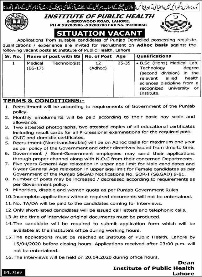 Institute Of Public Health Govt Of Punjab Jobs March 2020