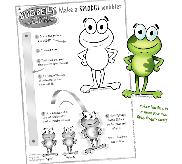 A4 download craft sheet to make a frog Wobbler