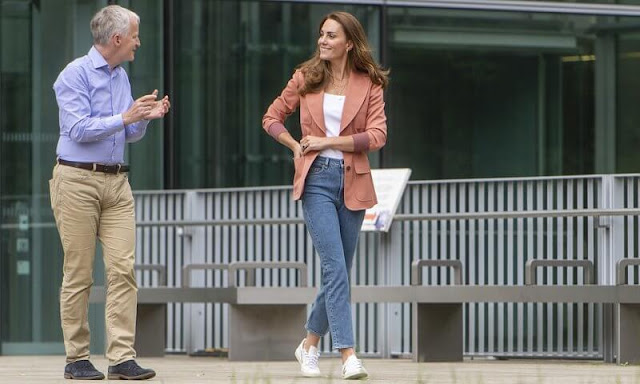 Kate Middleton wore a new safari poudre wool jacket from Chloe, and nadalia top from Ralph Lauren, and blue jeans from Other Stories
