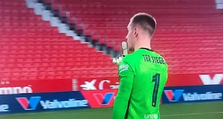 Ter Stegen in a heat up with Sevilla ball boys at half-time of Wednesday's defeat