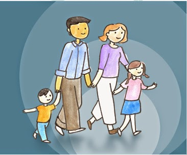 cartoon image of a mum, dad and two children walking holding hands.