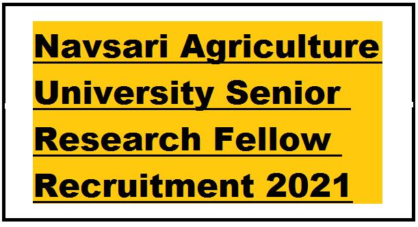 Navsari Agriculture University Senior Research Fellow Recruitment 2021
