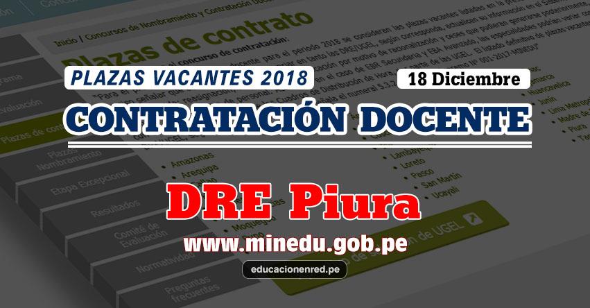 DRE Piura: Plazas Vacantes Contrato Docente 2018 (.PDF) www.drep.gob.pe