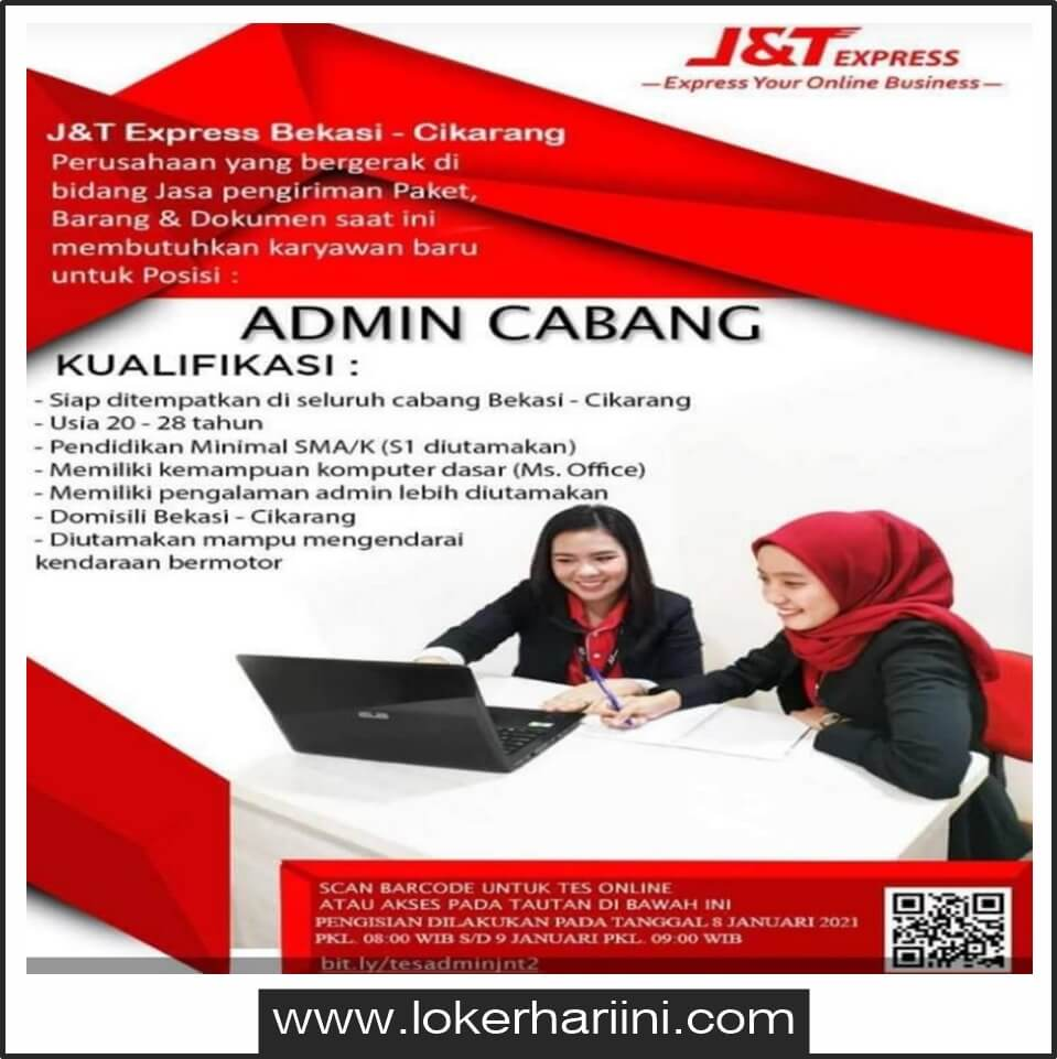 Lowongan Admin Operasional J T Express Bekasi 2021