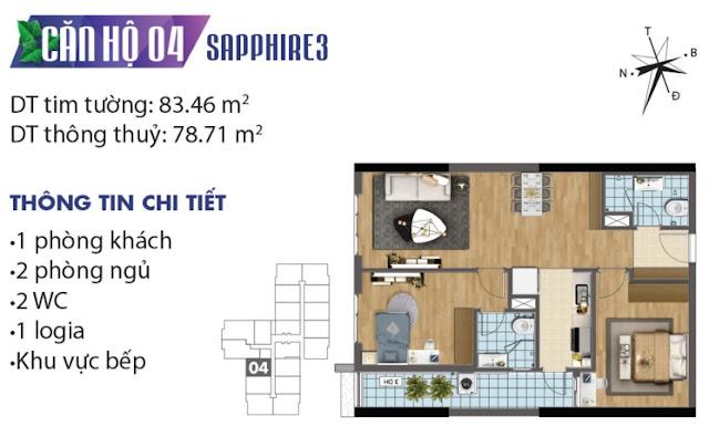 Thiết kế căn hộ số 4 tòa Sapphire 3