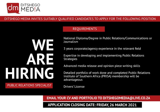 Ditshego Media is recruiting in South Africa