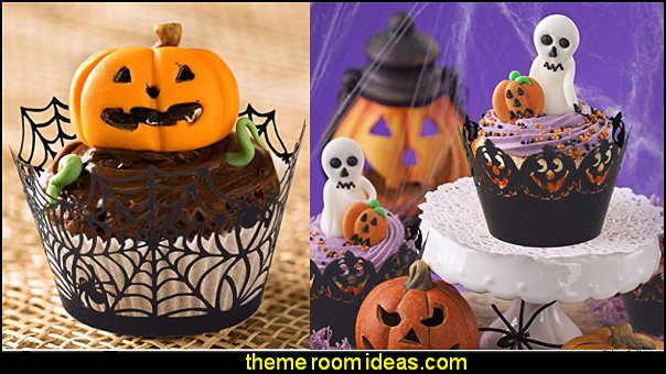 Halloween Cupcake Wrappers, Artistic Bake Paper Cups Black Laser Cut Cupcake Liners Cake Decoration for Halloween Theme Party