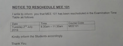 FUTA CBT Examination Time-Table for 1st Semester 2018/19 [FINAL]