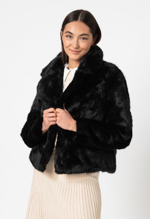 Vero Moda Haina din blana sintetica neagra de dama
