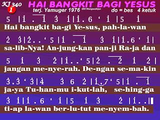 Lirik dan Not Kidung Jemaat 340 Hai Bangkit Bagi Yesus