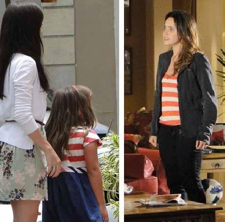 Julia com blusa listrada ao lado ana com mesmo modelo