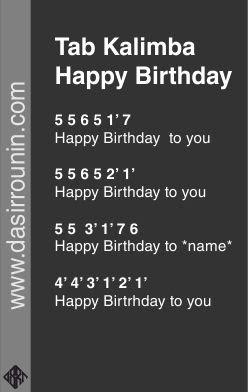 tab kalimba  hgappy birthday