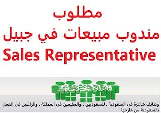 وظائف السعودية مطلوب مندوب مبيعات في جبيل Sales Representative