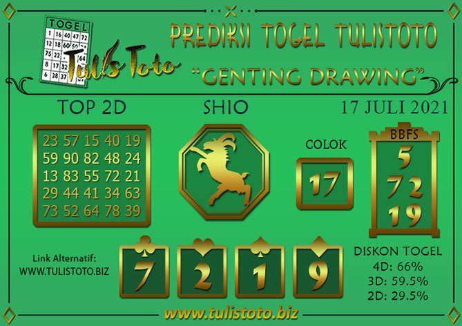 Prediksi Togel GENTING DRAWING TULISTOTO 17 JULI 2021