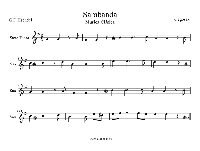del Partitura para Violín, Flauta, Trompeta, Clarinete, Trombón, Saxofón, Saxo Tenor, Saxofón Barítono y Soprano, trompa, bombardino, tuba, chelo, corno inglés, fagot. Sarebande sheet music by Georg Friedrich Haendel Zarabanda en Re menor